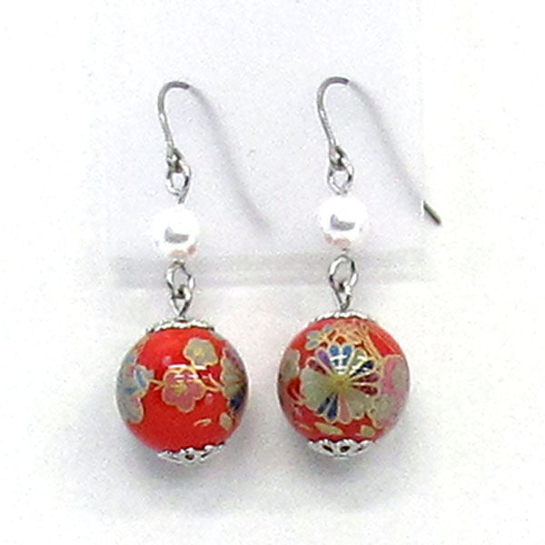COCOLUCK Motif earrings CO-P1703-RED