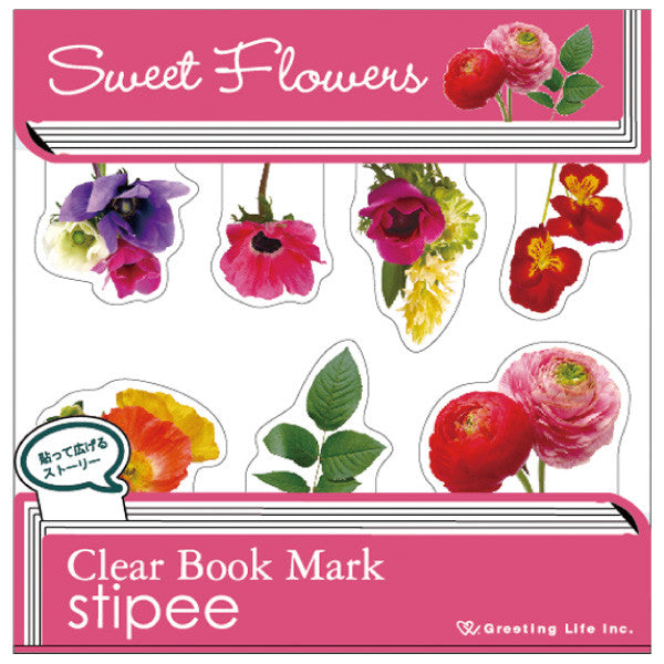 Greeting Life Clear Book Mark Stipee Flower PG-58