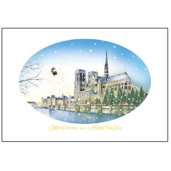Greeting Life Mini Santa Christmas Card Notre Dame Cathedral S-291