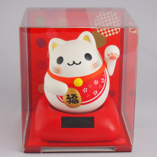 Solar Powered Maru Maru Happy Manekineko Red