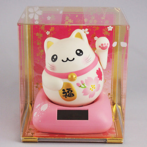 Solar Powered Maru Maru Happy Manekineko Cherry Blossoms