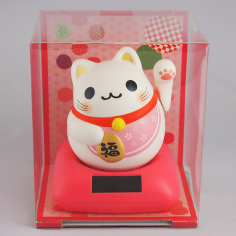Solar Powered Maru Maru Happy Manekineko Pink