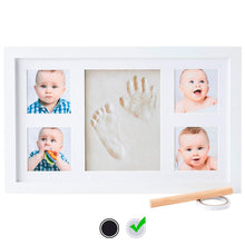 Load image into Gallery viewer, Baby Handprint Kit by Little Hippo |Deluxe Size + NO Mold| Baby Picture Frame & Non Toxic Clay! Baby Footprint kit, Perfect for Baby Boy Gifts, and Baby Girls Gifts! (White, Deluxe)