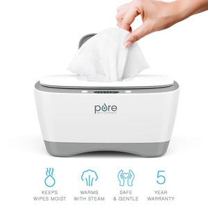 Pure Baby Wipe Warmer with Digital Display - Easy-Feed Dispenser with 3 Heat Settings, LCD Display, 80 Wipe Capacity, Naturally Steam Heated for Maximum Comfort and Safety for Baby