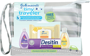 Johnson's Tiny Traveler Baby Gift Set, Baby Bath and Skin Care Essential Products, TSA-Compliant Travel Baby Gift Set, Hypoallergenic & Paraben-Free, 5 Items