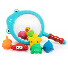 Load image into Gallery viewer, Eco-Friendly 9 Piece Animal Squirt and Squeak Baby Bath Toys