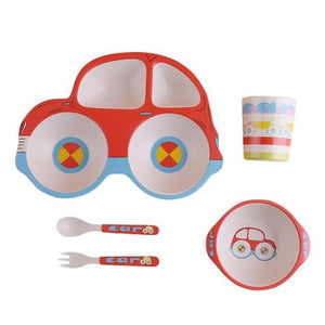 Eco-friendly Bamboo Fiber 5 pc Baby Dinnerware Set
