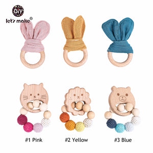 Wooden Wabbit Rattle Teether 2pcs Baby Toy