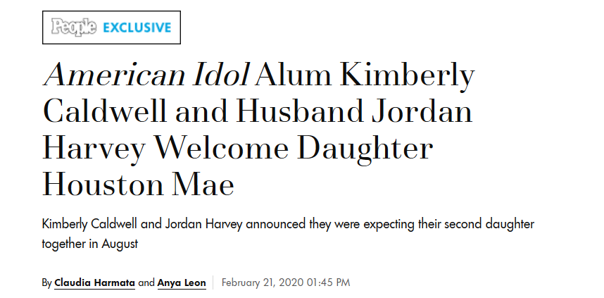 American Idol Alum Kimberly Caldwell and Husband Jordan Harvey Welcome Daughter Houston Mae