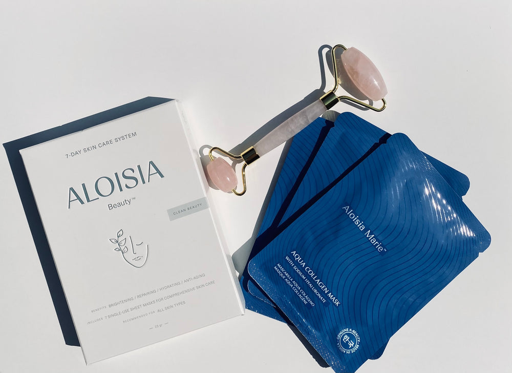 Aloisia Beauty 30 day skincare routine 7 day skincare system, aqua collagen mask, rose quartz facial roller, korean beauty, clean beauty, clean skincare, sheet masks, kroean skincare