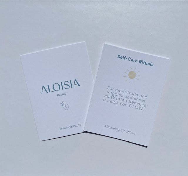 Load image into Gallery viewer, Aloisia Beauty self care rituals gift set, korean beauty, clean beauty, clean skincare, sheet masks, korean skincare, ritual cards, self care ritual cards