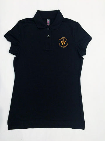 Polo Shirt- Black with Logo- LADIES