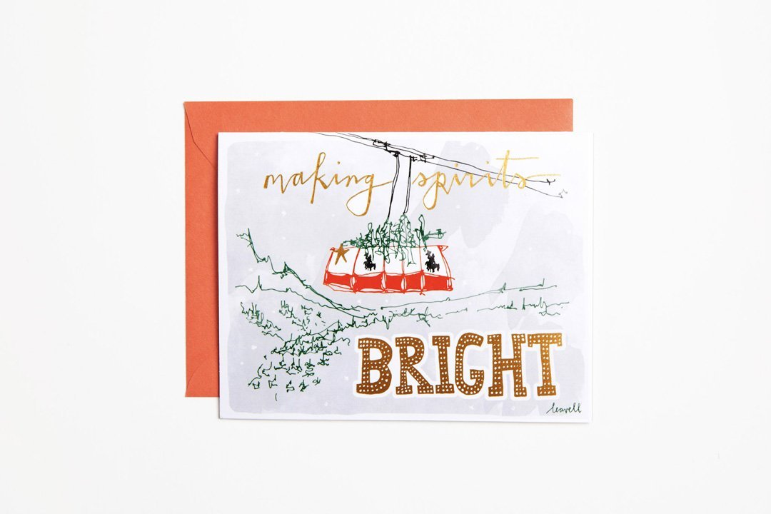 Tram Holiday Foil Greeting Card