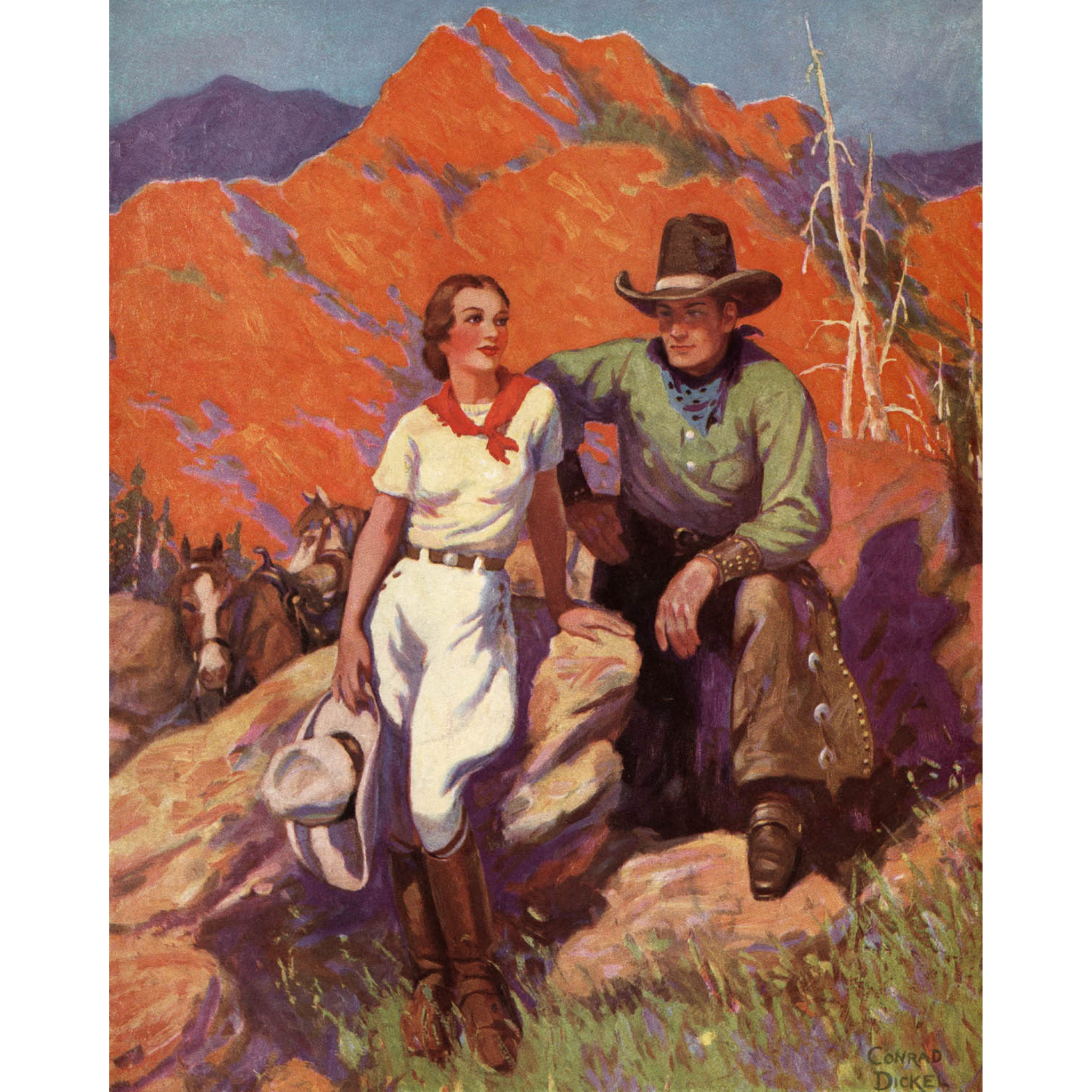 Cowboy and Cowgirl Sitting on Rock - ca. 1935 Conrad Dickel Lithograph