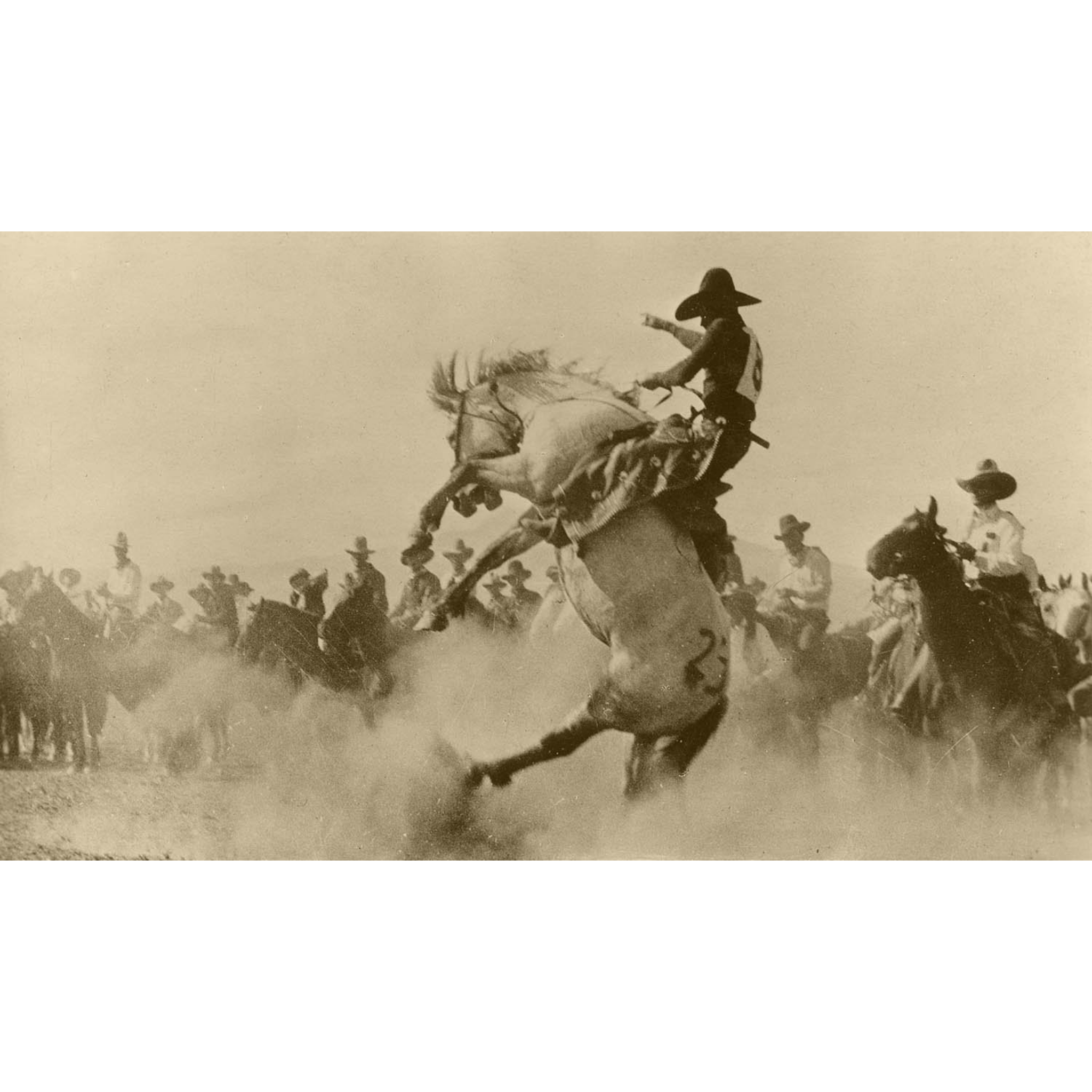 Rodeo Cowboys 4 - Cowboy on Bucking Bronco - ca. 1916 Photograph