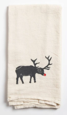 Red Nose Animal Tea Towel