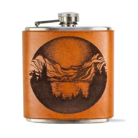 Etched Leather Flask