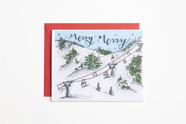 Merry Skiers Greeting Card