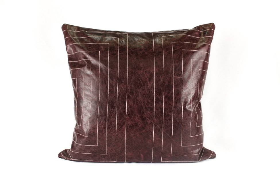 Streams Leather Pillow- Oxblood
