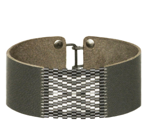 "1"" Wide Leather with Patina Sterling Silver Chevron Cuffs"