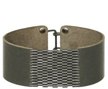 "Load image into Gallery viewer, 1"" Wide Leather Cuffs with Patina Silver Beaded Inlay"