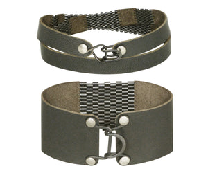 "Patina Silver & Leather Striped Wrap & 1"" Wide Cuff Sets"
