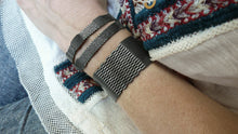 "Load image into Gallery viewer, Patina Silver & Leather Striped Wrap & 1"" Wide Cuff Sets"