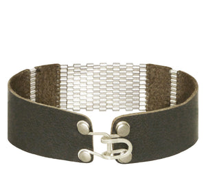 "3/4"" Wide Ash Leather with Sterling Silver Stripes"