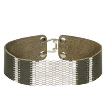 "Load image into Gallery viewer, 3/4"" Wide Ash Leather with Sterling Silver Stripes"