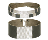 "Sterling Silver & Leather Striped Wrap & 1"" Wide Cuff Sets"