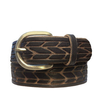 "Load image into Gallery viewer, Black & Tan Hand-Carved ""Angles"" Leather Belt"
