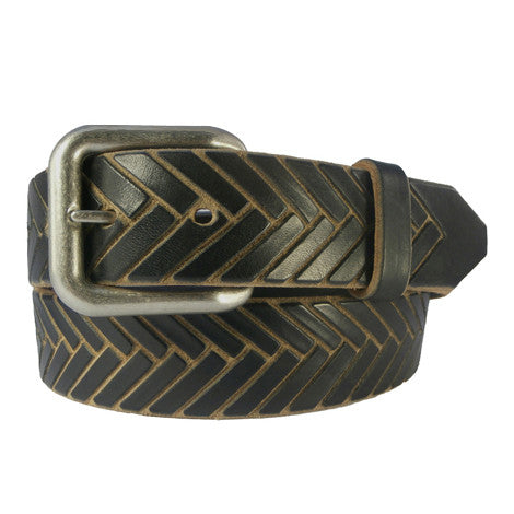 "Black & Tan Hand-Carved ""Herringbone"" Leather Belt"