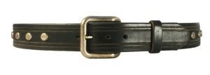 Hand-Carved Studs & Stripes Leather Belt
