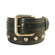 Load image into Gallery viewer, Hand-Carved Studs & Stripes Leather Belt