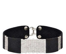 "Load image into Gallery viewer, 3/4"" Wide Leather Cuffs with Sterling Silver Stripes"