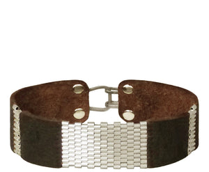 "3/4"" Wide Leather Cuffs with Sterling Silver Stripes"