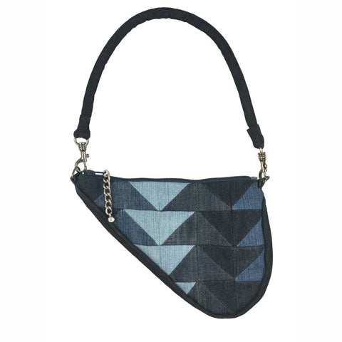 Denim Patchwork Clutch, Black & Blue