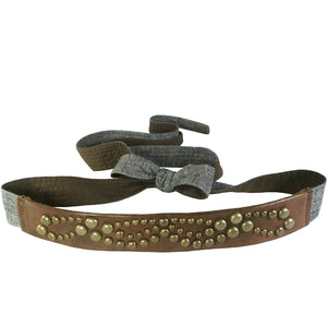 """Canyon Tan"" Deco Stud Panel Wrap Belt"