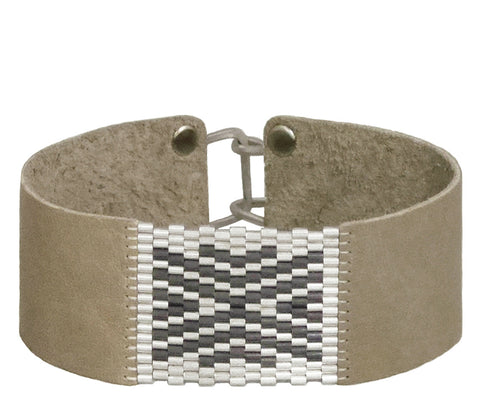 "1"" Wide Leather with Sterling Silver Chevron Cuffs"