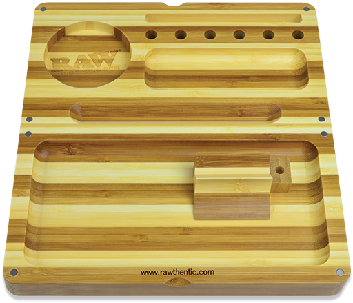 RAW Back Flip Striped Bamboo Rolling Tray - 360 Alternative