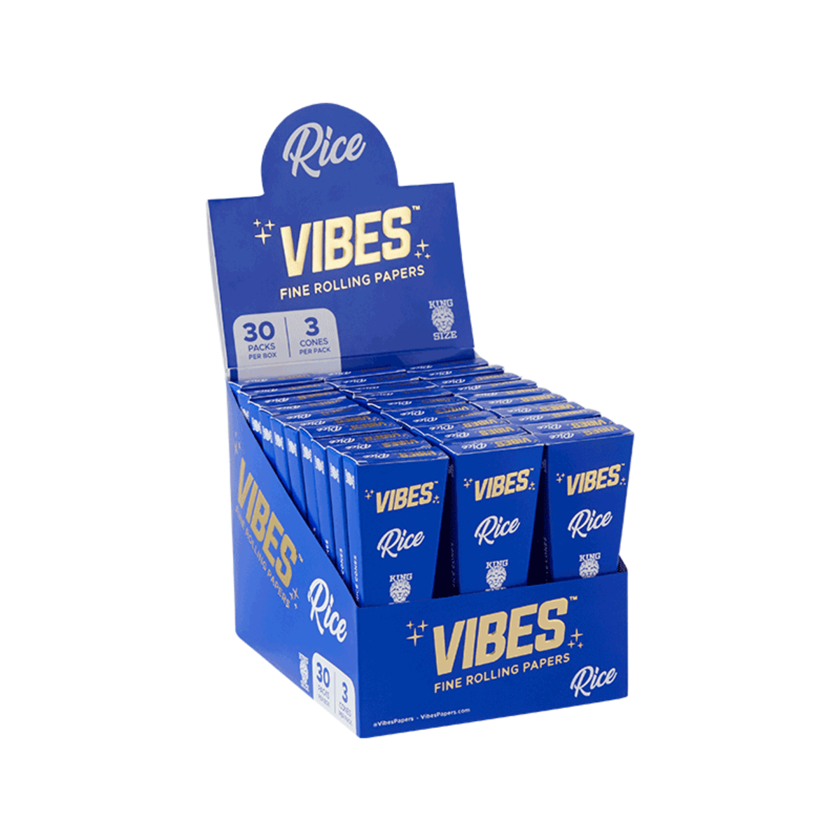 Vibes Cones Rice - King Size (Box Of 30) - 360 Alternative