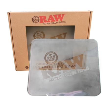 Raw Large Frosted Glass Rolling Tray - 360 Alternative