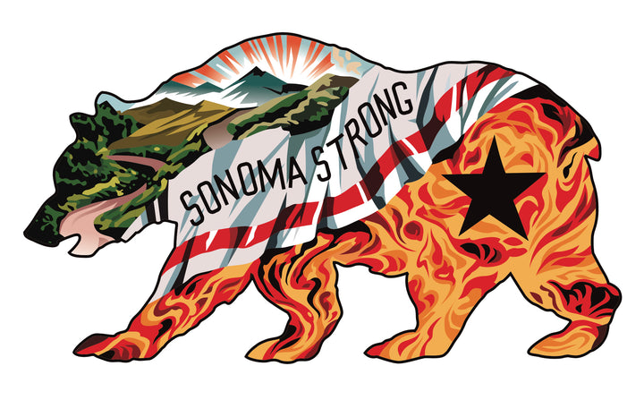Sonoma Strong Bear Sticker 6""