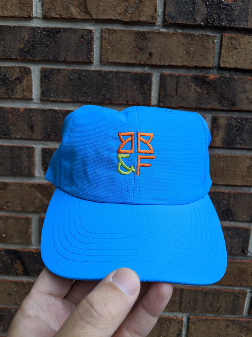 Mysterious (Electric Blue Hat with orange/neon green logo)