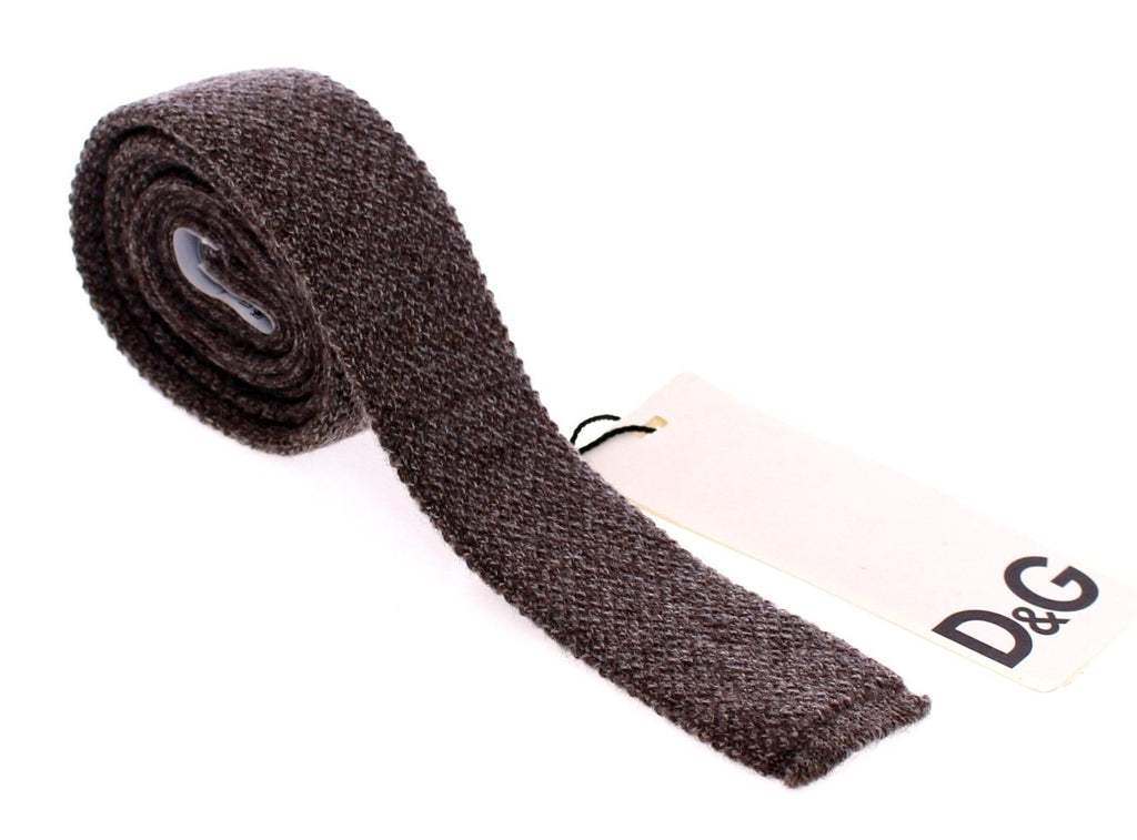 Men Gray Wool Pattern Slim Tie
