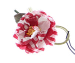 Red Checkered Flower Cotton Brooch