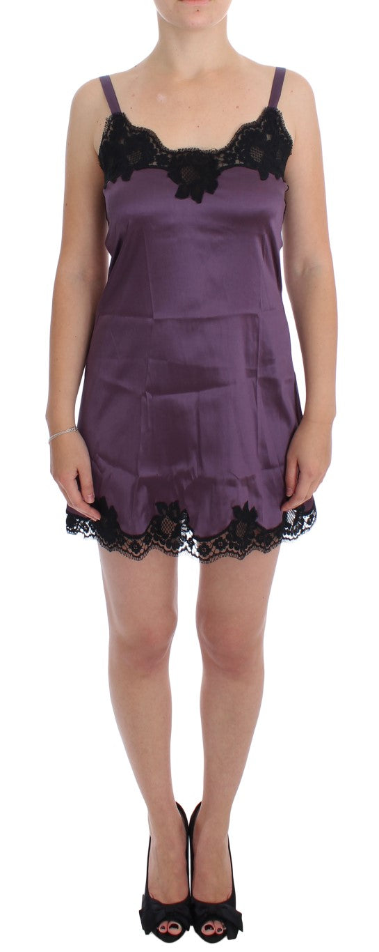 Purple Black Silk Lace Dress Lingerie Chemise