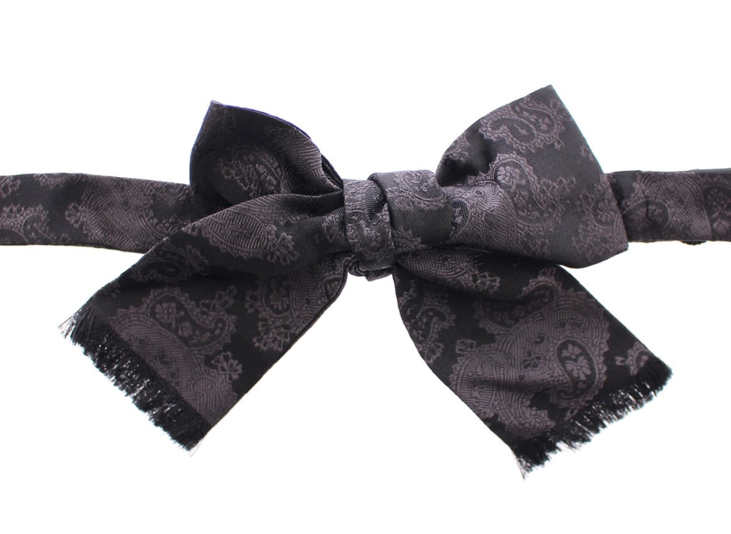 Black Gray Silk Baroque Paisley Bow Tie