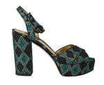 Leather Jacquard Sandals