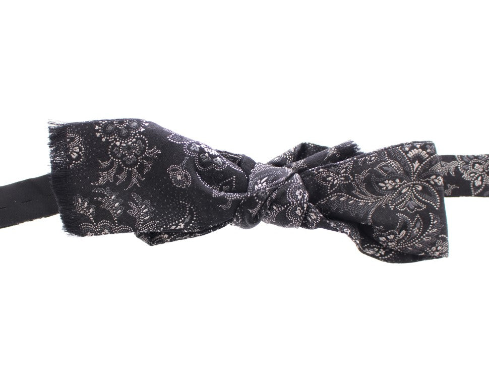 Black White Silk Baroque Paisley Bow Tie